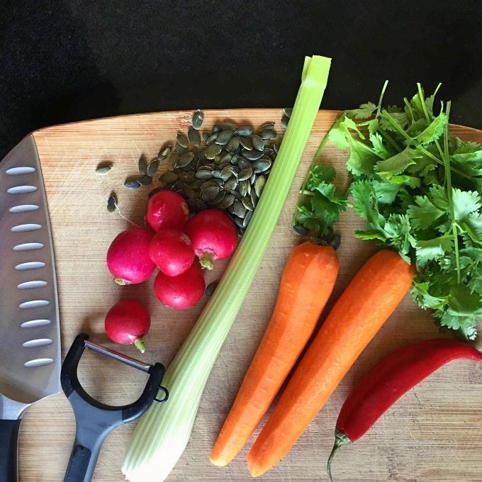 Ingredients to make carrot salad.
