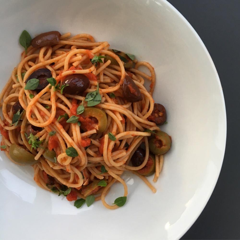 Homemade spaghetti alla puttanesca