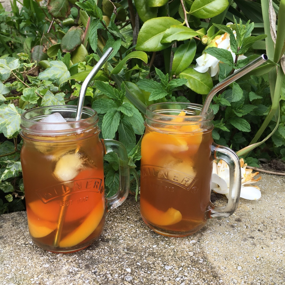 Peach iced tea in the sunshine